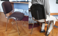Sitting on an ISO stackable chair