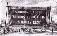 8-hour day banner, Melbourne, 1856